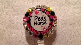 Peds Nurse Badge Reel - Peds Id Holder - Swarovski Crystals Alligator Clip - $9.95