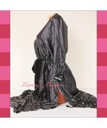 "VICTORIA'S SECRET VS Silky Satin Kimono Midi 43"" Tied-up Robe XS /S Gray... - $69.99"