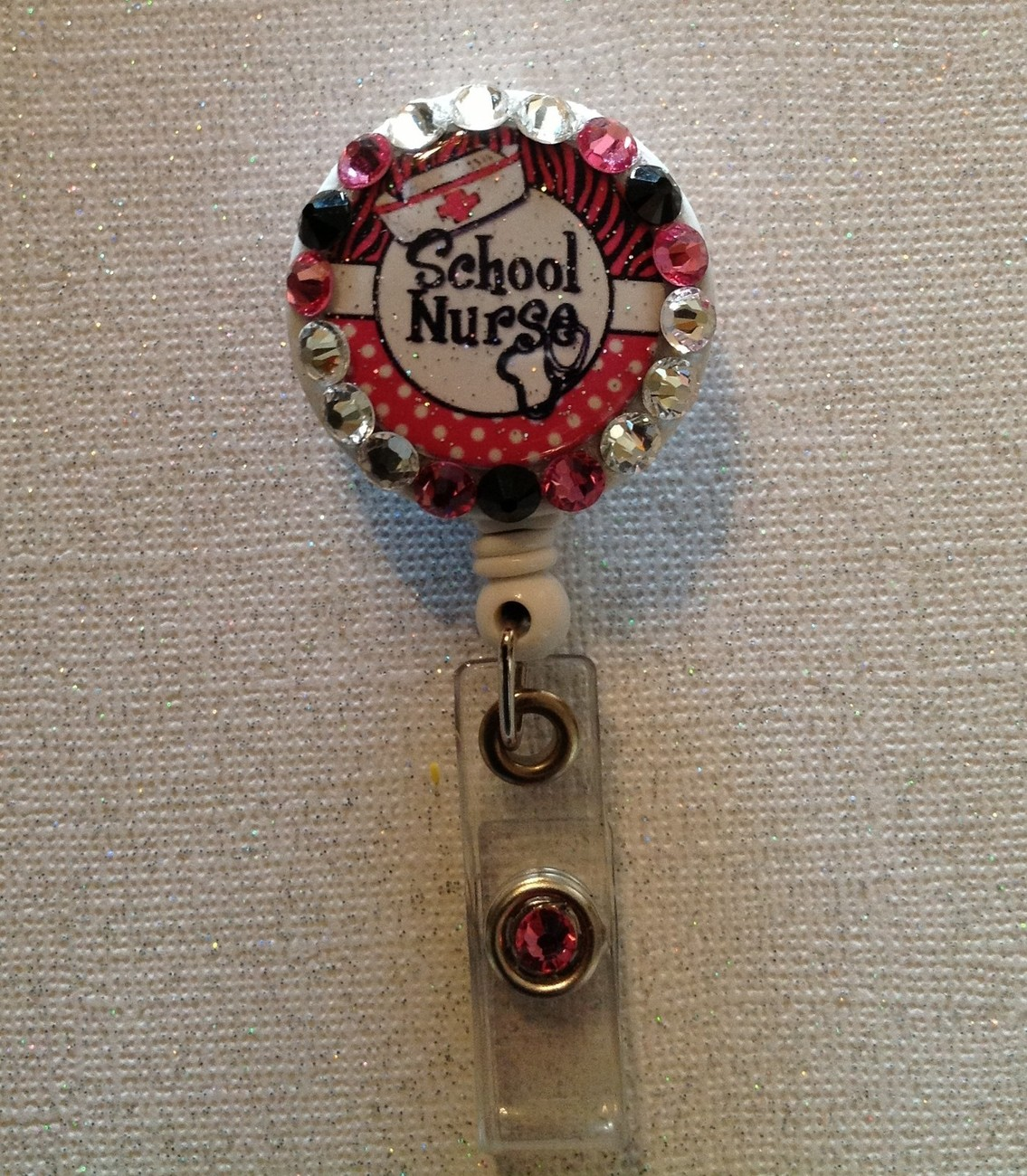 School Nurse Badge Reel Id Holder Swarovski pink handmade new