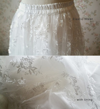 Embroidery White Lace Tulle Maxi Skirt Alternative Wedding Party Bridal Skirts image 6