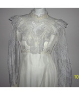 Vintage 60s Chiffon Lace Wedding Dress Edwardian Bridal Gown Beads Pearls - $140.00