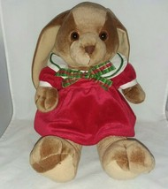 Soft Plush Commonwealth Vintage Brown Floppy Bunny Red Dress Xmas Ribbon... - $65.99