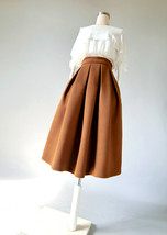 Winter Wool-Blend Skirt Brown Midi Party Skirt Outfit Plus Size image 2