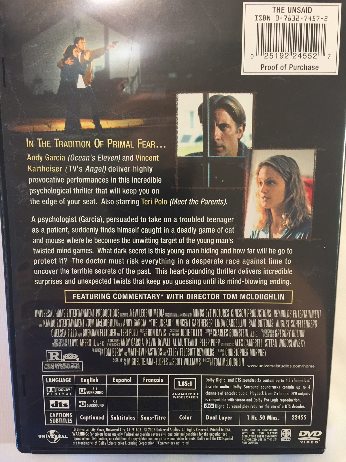 The Unsaid (2001) DVD. Region 1. Rated R, 110 minutes. Color.