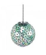Solar Garden Light Ball Mosaic Glowing Hanging Yard Ornament Glass Metal... - $39.55