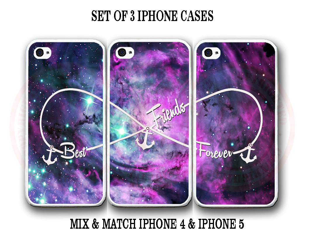Custom Purple Pink Mint Nebula BFF Best Friends iPhone Case Set 3 iPhone 5 Cases for sale  USA