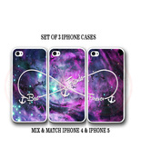 Custom Purple Pink Mint Nebula BFF Best Friends iPhone Case Set 3 iPhone... - $29.99