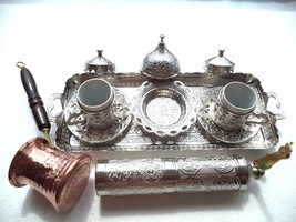 Turkish Coffee Espresso Set Shiny Silver  with Coffee Pot&Shiny Silver G... - £51.10 GBP