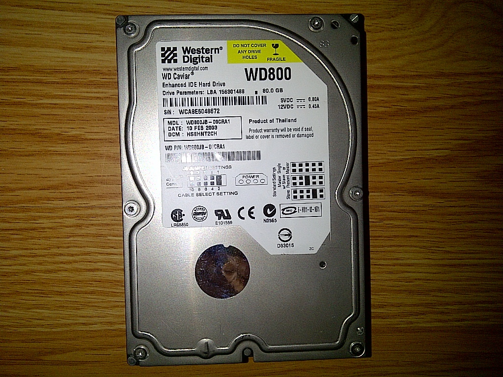 "Western Digital Caviar 250 GB,Internal,7200 RPM,3.5"" WD2500JB-00EVA0 Hard Drive"
