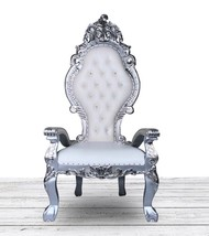 Silver and White French Italian Style Throne Chair. Tufted High Back Dia... - $890.01