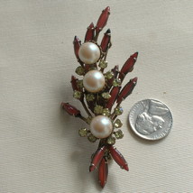 Vintage CATHE' Prong Set Rhinestone Pearl Brooch Pin Art Glass Stones 3 ... - $65.00