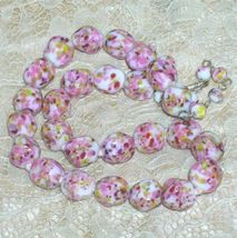 Vintage Hand Knotted Lampwork Bead Neckace Speckled Pink Beads - $79.99