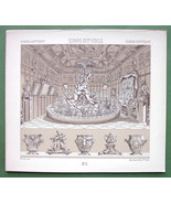 BANQUET Dinner 17th C Italy Table Setting - Tinted Litho Print by A. Rac... - $3.37