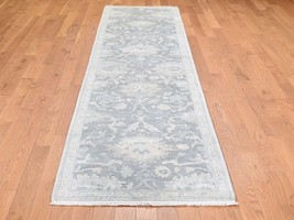"""2'6""""x10'2"""" Oushak Influence Silk With Oxidized Wool Textured Runner Rug ... - $1,010.50"""