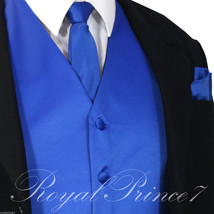 ROYAL Solid Tuxedo Suit Vest Waistcoat and Neck tie Hanky Set Prom Weddi... - $19.78+