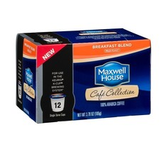 MAXWELL HOUSE CAFE COLLECTIONS BREAKFAST BLEND KCUPS 12CT 3.7OZ - $19.79