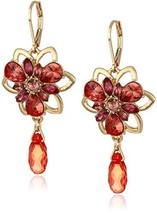 Anne Klein Women's Gold/Coral Leverback Flower Drop Earrings - $31.98