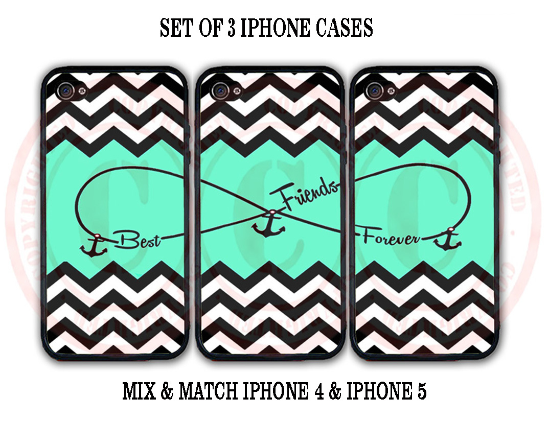 Personalized Mint Black Chevron BFF Best Friends iPhone Case - 3 iPhone 5 Cases for sale  USA