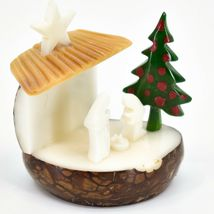 Hand Carved Tagua Nut Carving Nativity Scene Figurine w Manger & Christmas Tree image 5