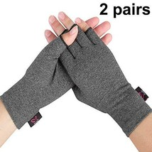 2 Pairs - Compression Arthritis Gloves for Women and Men, Fingerless Des... - $27.24 CAD