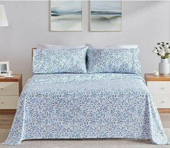 Charisma Blue/White Floral Leaves Print 6 - Piece Sheet Set - Size - Queen - $59.95