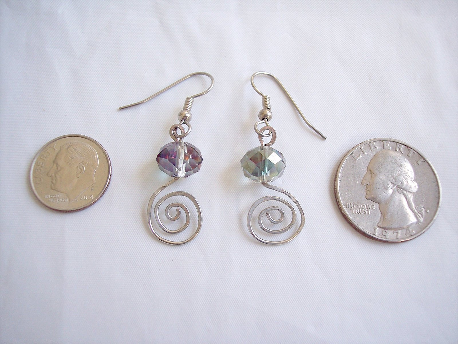Spirals Iris Crystal Drop Earrings Handmade