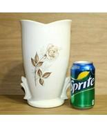 """NICE 9"""" Vintage McCoy V Shaped Vase, Antique Brown Rose Motiff - $39.55"""