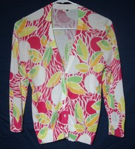 J. Crew Sweater Pink Floral Cardigan Tropical Print 100% Cotton Girls Si... - $23.75
