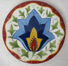 Pier 1 Hand Painted Earthenware Floral Plates 8 inch Retired  - $24.70