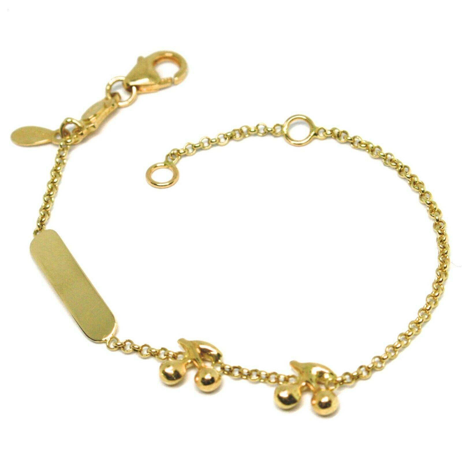 Armband Gelbgold 18K 750, von Säugling, Platte, Kirschen, Länge 14 CM