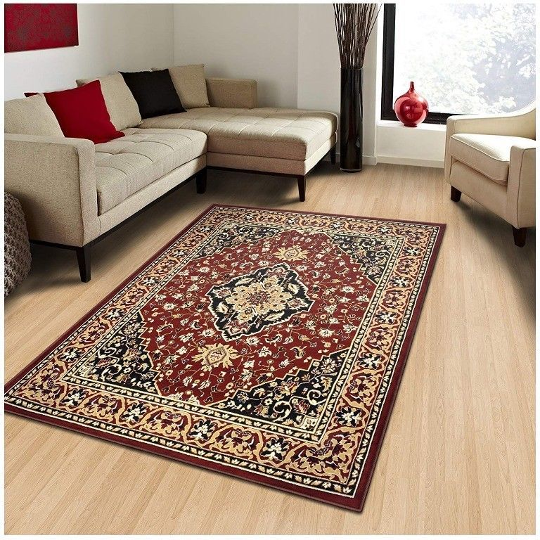 Primary image for Superior Glendale Collection Red Oriental Design 8' x 10 ' Area Rug 8mm High