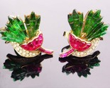 Vintage Crown Trifari Earrings / pink carnation flowers /  Alfred Philippe Invis