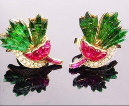 Vintage Crown Trifari Earrings / pink carnation flowers /  Alfred Philip... - $875.00