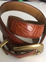 FOSSIL Women's Brown Snakeskin Patterned  Leather Belt - Size Medium - $14.85
