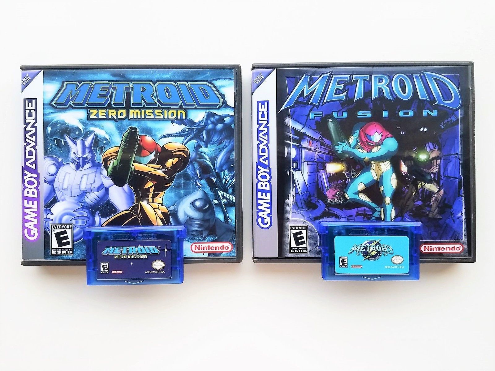 Primary image for Metroid Fusion & Zero Mission w/ Custom Case Bundle (Gameboy Advance - GBA)