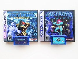 Metroid Fusion & Zero Mission w/ Custom Case Bundle (Gameboy Advance - GBA) - $44.99