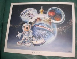 Astronaut  Mickey Epcot  Disney  Lithograph - $19.99