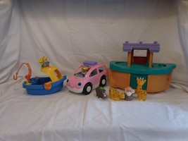 Fisher Price Little People Noah's Ark Lot Animals, Noah + Boat + Car + P... - $28.01