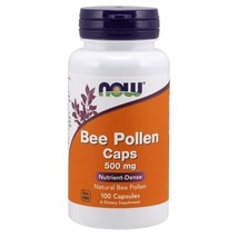 NOW FOODS® Bee Pollen 500 mg - 100 Capsules,Fresh,  Made in USA - $15.68
