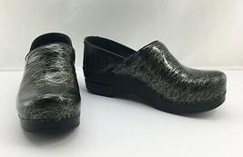 Dansko Black Metallic Gold Scribble Leather Clogs Slip on Shoes - Women's 37/6.5 - $28.45
