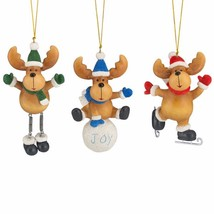 Lenox Christmas Moose Ornament Set of 3 Ice Skating Snowball Winter Anti... - $44.55