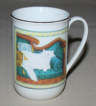 White Cat Mug Kitty on Sofa Russ Berrie Four Seasons 12501 - $8.86