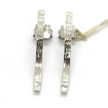 18K WHITE GOLD PENDANT EARRINGS, WAVE, WAVY, FINELY WORKED, HAMMERED image 2