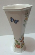 "AYNSLEY Bone China England COTTAGE GARDEN 9"" Hexagonal Bud Vase flowers - $16.99"