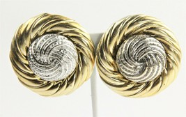 ESTATE VINTAGE Jewelry 80's HUGE TWO TONE SILVER & GOLD STATEMENT EARRINGS - $20.00