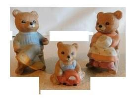 Set of 2 Teddy Bears In Rocking Chairs & Small Bear Figurine Homeco #1470 - $10.89