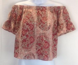 Madewell NEW Pink Womens Size XS Paisley-Print Off-Shoulder Blouse Silk - $23.38