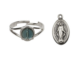 Miraculous Medal Communion Set  - Silver Plated  - Blue Background Heart Shaped - $42.99