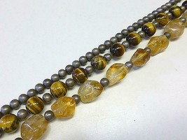 Glam Vintage Natural Citrine Tigers Eye Gray Pearl Beaded Necklace Retro... - $39.59