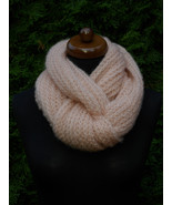 Loop scarf, Knit circle infinity scarf, silk mohair scarf pink shawl wom... - $49.00